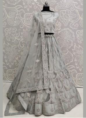 Grey Embroidered Wedding A Line Lehenga Choli