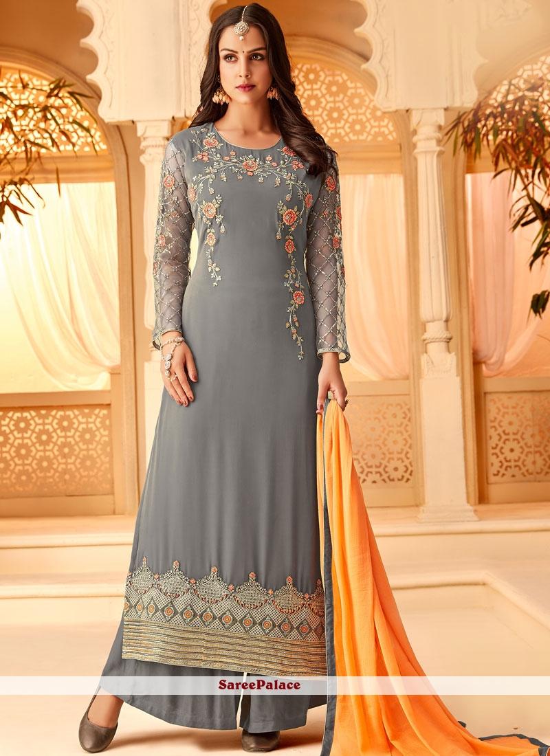 d842ec9a4f Buy Grey Embroidered Wedding Designer Palazzo Salwar Suit Online