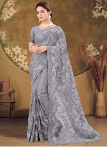 Grey Engagement Designer Saree