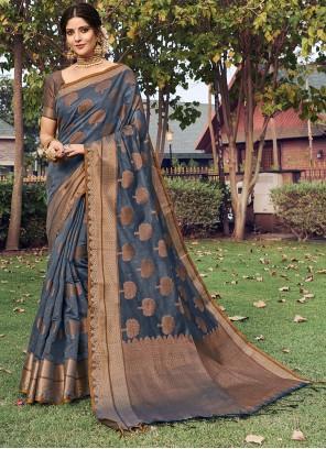 Grey Engagement Designer Traditional Saree