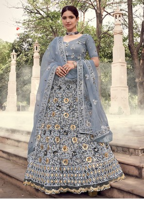 Grey Engagement Lehenga Choli