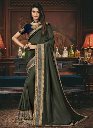 Grey Engagement Silk Designer Traditional Saree