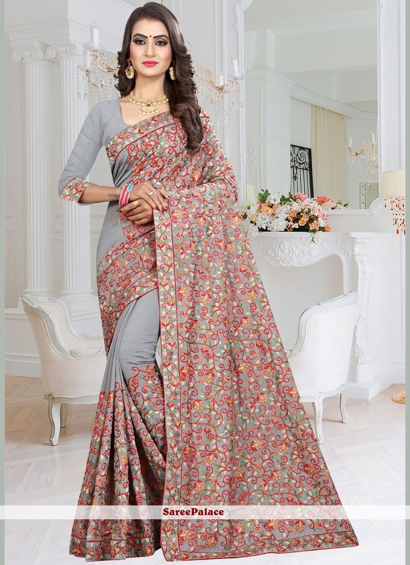 Grey Fancy Fabric Classic Designer Saree