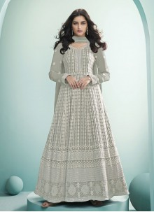 Grey Fancy Festival Floor Length Anarkali Suit