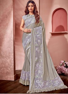 Grey Fancy Net Saree