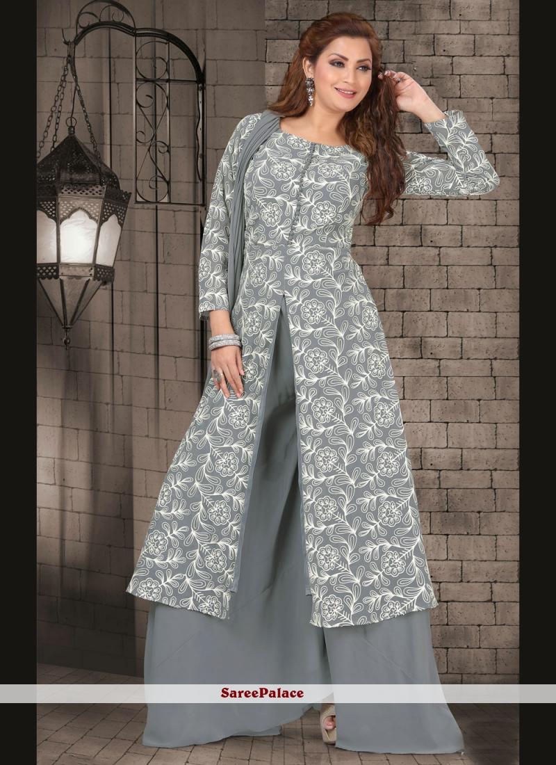 Grey Fancy Sangeet Readymade Suit