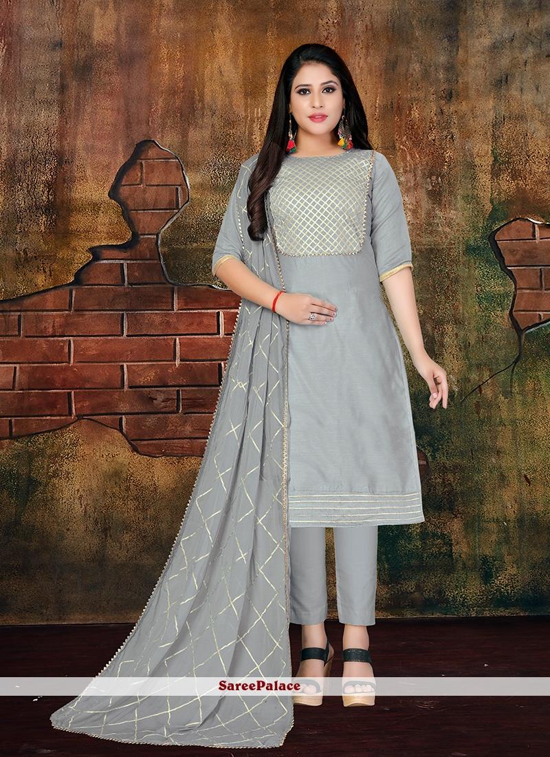 Grey Faux Chiffon Designer Salwar Kameez