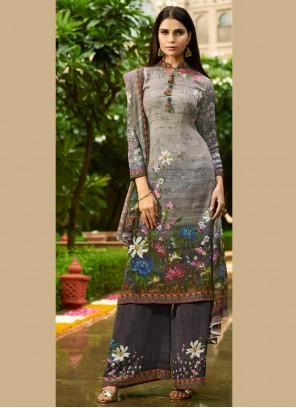 Grey Faux Crepe Party Designer Pakistani Suit