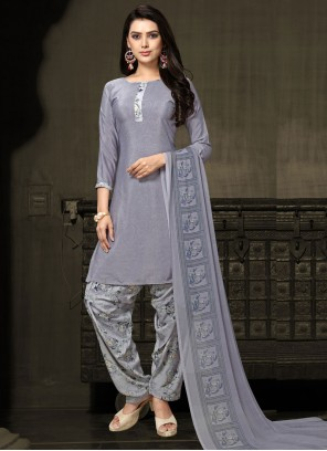 Grey Faux Crepe Printed Salwar Kameez