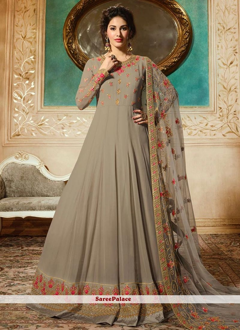 Grey Faux Georgette Floor Length Anarkali Suit