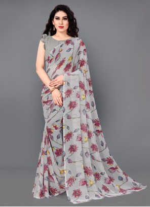 Grey Faux Georgette Floral Print Casual Saree