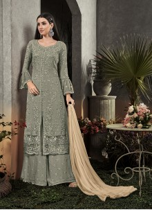 Grey Faux Georgette Party Trendy Palazzo Salwar Suit