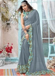Grey Faux Georgette Printed Traditional Designer Saree