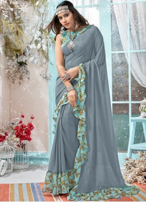 Grey Faux Georgette Printed Traditional Designer Saree