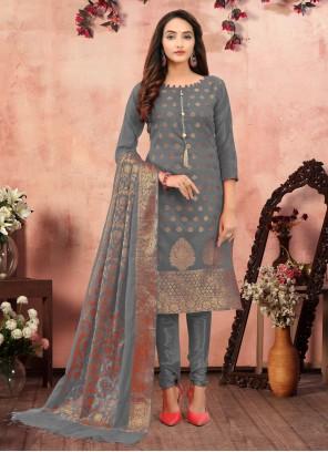 Grey Festival Banarasi Silk Churidar Designer Suit
