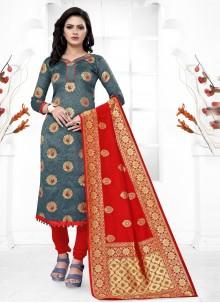 Grey Festival Banarasi Silk Churidar Salwar Kameez