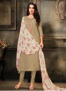 Grey Festival Churidar Salwar Suit