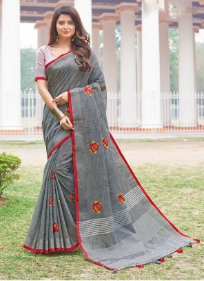 Grey Festival Cotton Casual Saree