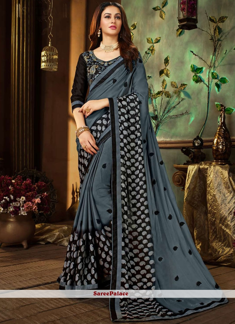 Grey Festival Faux Georgette Printed Saree