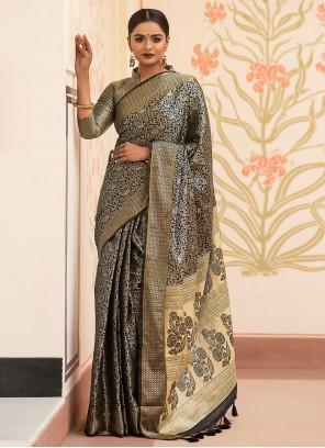 Grey Festival Kanchipuram Silk Traditional Saree