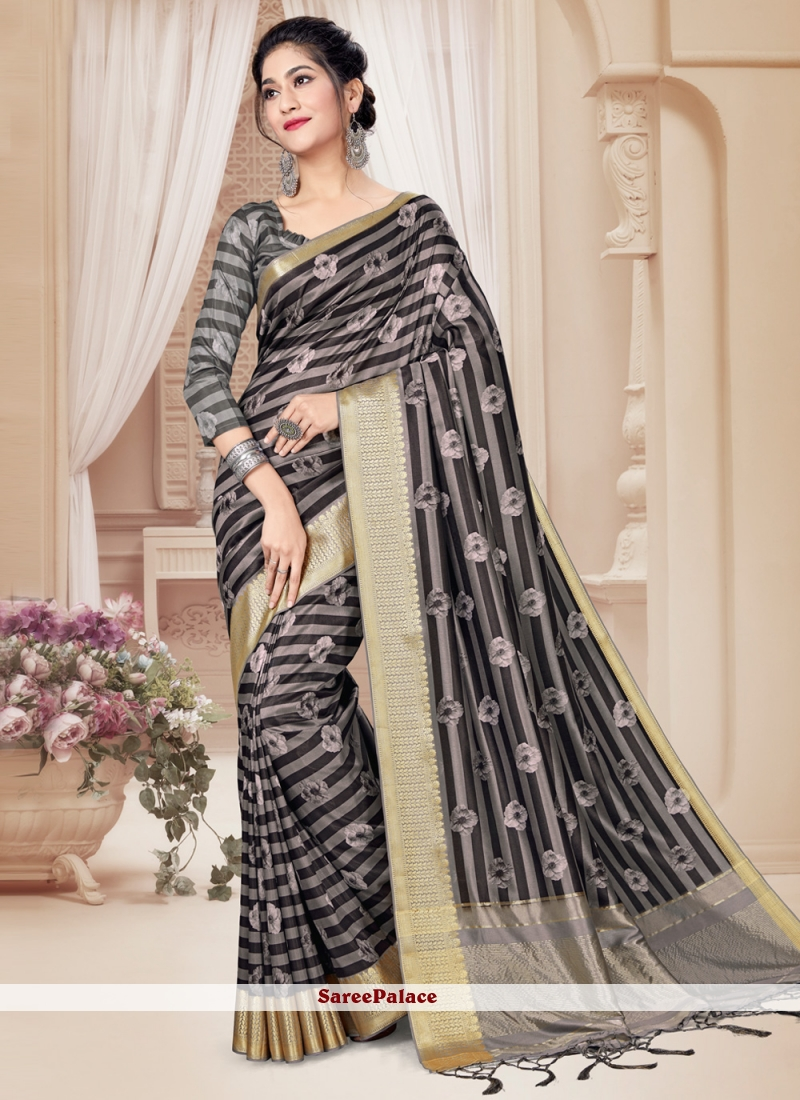 Grey Festival Tussar Silk Printed Saree
