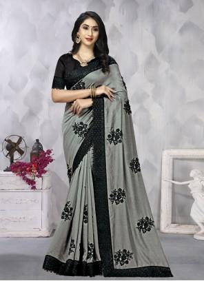 Grey Festival Vichitra Silk Traditional Saree