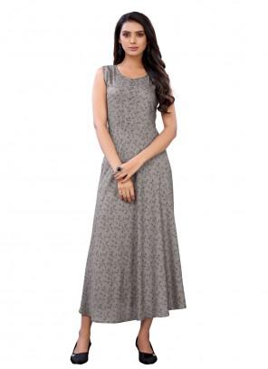 Grey Floral Print Rayon Party Wear Kurti