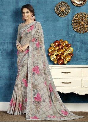Grey Georgette Traditional Saree