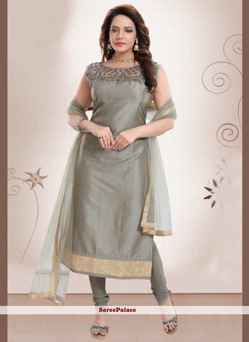 Grey Handwork Silk Churidar Designer Suit