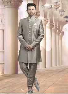 Grey Jacquard Embroidered Sherwani
