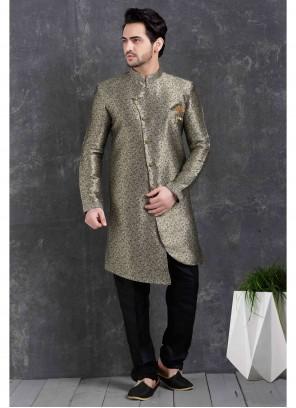 Grey Jacquard Silk Engagement Indo Western