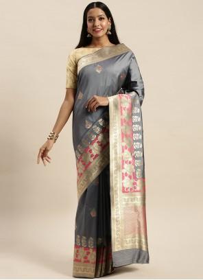 Grey Jacquard Silk Woven Traditional Designer Saree