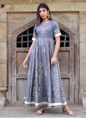 Grey Jamawar Silk Designer Gown