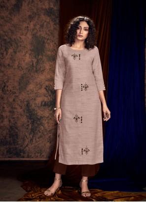 Grey Cotton Silk Party kurtis
