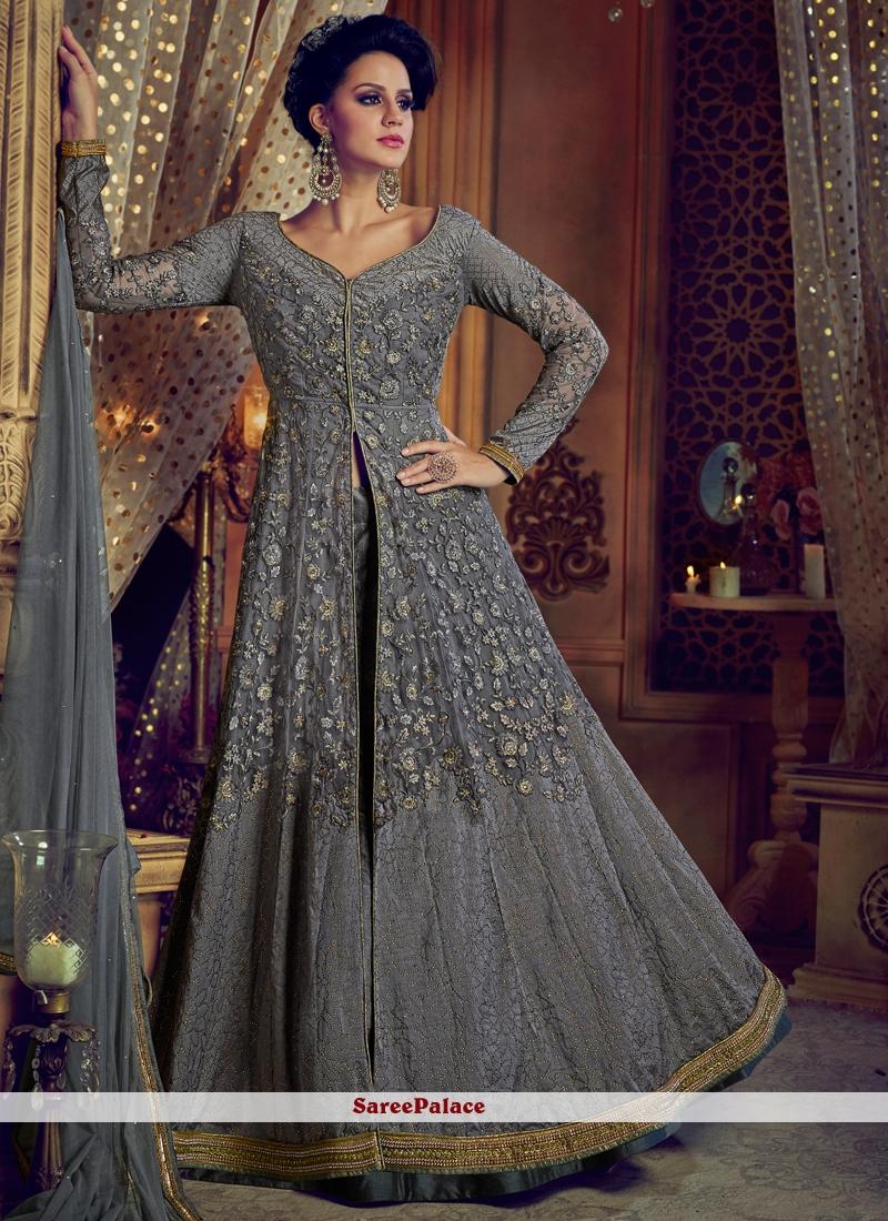Grey Lace Work Net Long Choli Lehenga