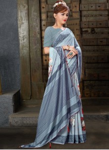 Grey Linen Classic Saree