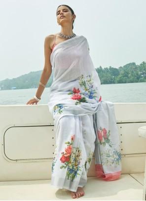Grey Linen Designer Saree
