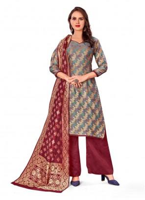 Grey Mehndi Banarasi Silk Designer Palazzo Salwar Kameez