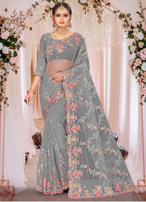 Grey Mehndi Embroidered Designer Saree