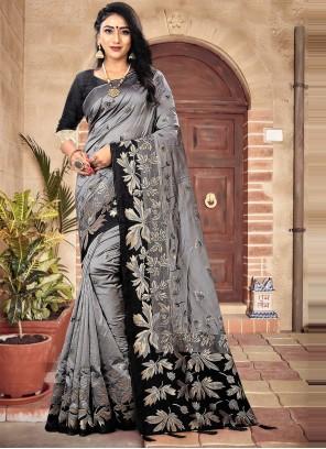 Grey Mehndi Designer Traditional Saree
