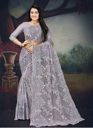 Grey Net Classic Designer Saree