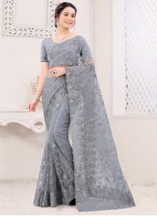 Grey Net Classic Saree