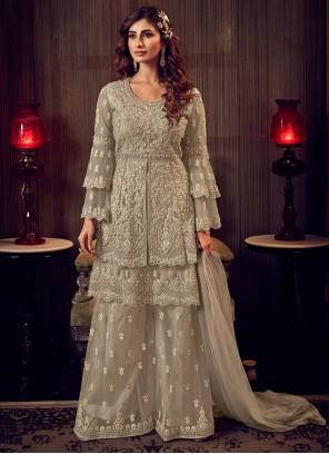 Grey Net Designer Palazzo Salwar Suit