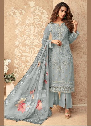 Grey Net Embroidered Designer Palazzo Suit