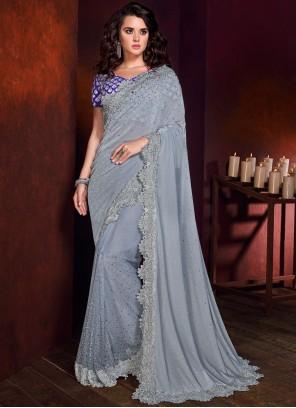 Grey Net Embroidered Trendy Saree
