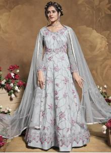 Grey Net Engagement Floor Length Anarkali Suit