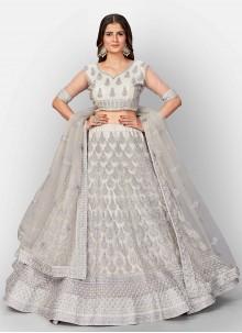 Grey Fancy Work Net Lehenga Choli