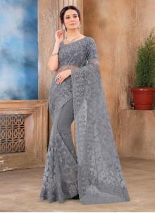 Grey Net Party Classic Saree