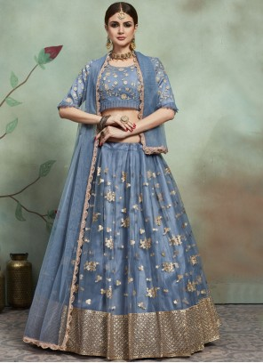 Grey Net Party Trendy Lehenga Choli