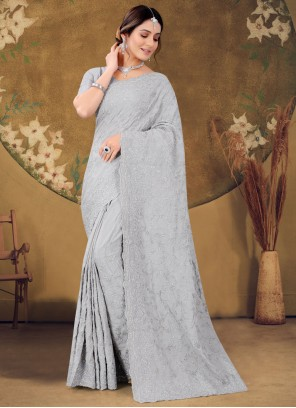 Grey Party Classic Designer Saree